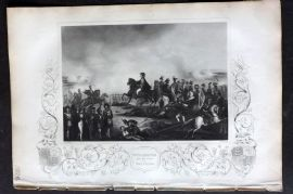 Tallis (Pub) 1853 Military Print. Wellington and his staff at Waterloo
